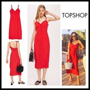 TOPSHOP RED SLIP TANK DRESS SUMMER MIDI DRESS A2C